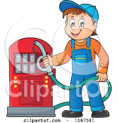 Clipart of a Gas Station Attendant Holding a Nozzle - Royalty Free Vector Illustration by visekart