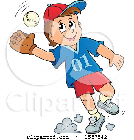 Clipart of a Boy Catching a Baseball - Royalty Free Vector Illustration by visekart