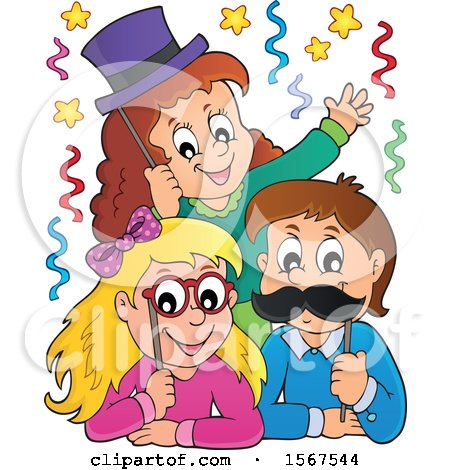 Clipart of a Group of Children with Photo Props at a Party - Royalty Free Vector Illustration by visekart