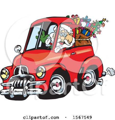 Clipart of Santa Claus Driving a Vintage Holden FJ UTE, with a Christmas Sack in the Back - Royalty Free Vector Illustration by Dennis Holmes Designs