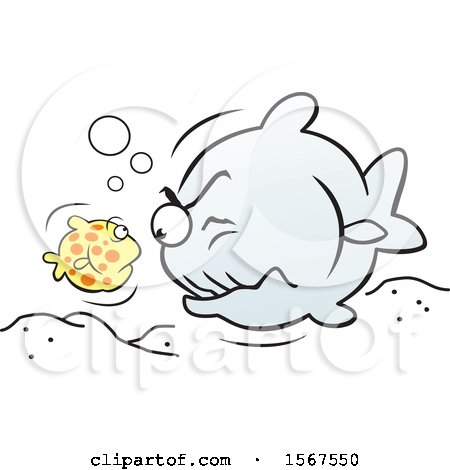 Clipart of a Little Fish Facing off with a Big Fish - Royalty Free Vector Illustration by Johnny Sajem