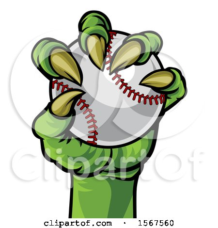 Clipart of a Green Monster Claw Holding a Baseball - Royalty Free Vector Illustration by AtStockIllustration