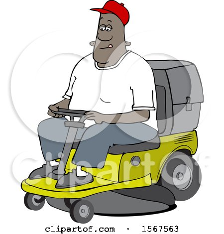 Clipart of a Cartoon Black Man Operating a Ride on Lawn Mower - Royalty Free Vector Illustration by djart