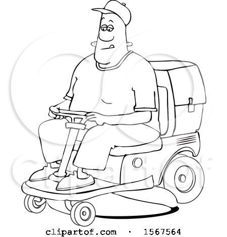 Clipart of a Cartoon Lineart Black Man Operating a Ride on Lawn Mower - Royalty Free Vector Illustration by djart