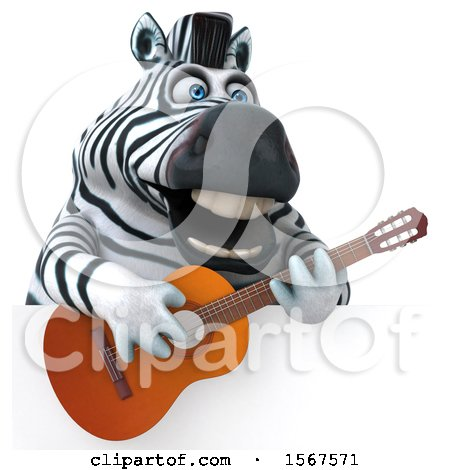 Clipart of a 3d Zebra Holding a Guitar, on a White Background - Royalty Free Illustration by Julos