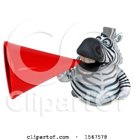 Clipart of a 3d Zebra Holding a , on a White Background - Royalty Free Illustration by Julos