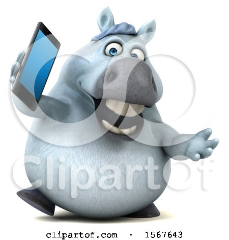 Clipart of a 3d Chubby White Horse Talking on a Cell Phone, on a White Background - Royalty Free Illustration by Julos