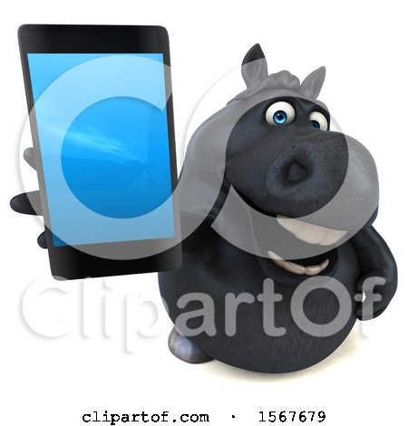 Clipart of a 3d Chubby Black Horse Holding up a Cell Phone, on a White Background - Royalty Free Illustration by Julos