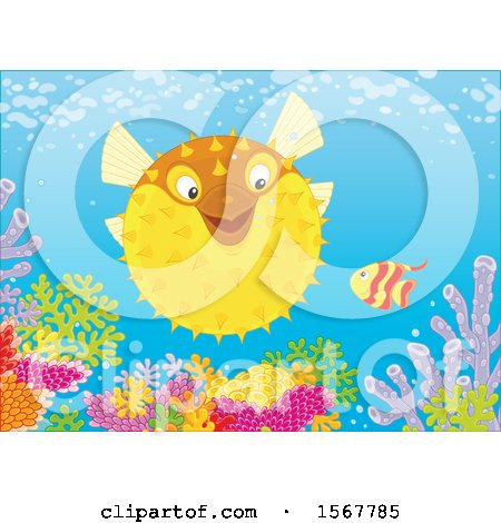 Clipart of a Blowfish and Small Fish at a Coral Reef - Royalty Free Vector Illustration by Alex Bannykh