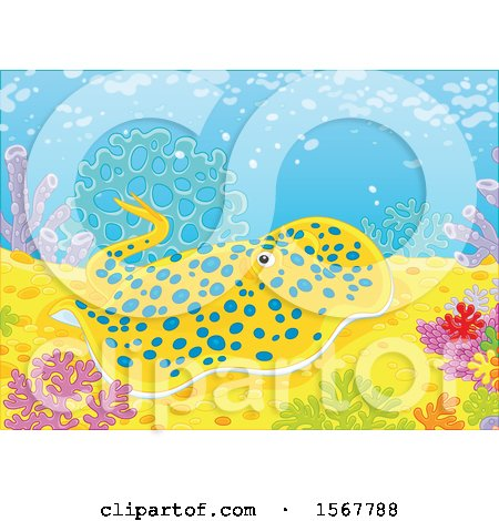 Clipart of a Blue Spotted Stingray on a Coral Reef - Royalty Free Vector Illustration by Alex Bannykh
