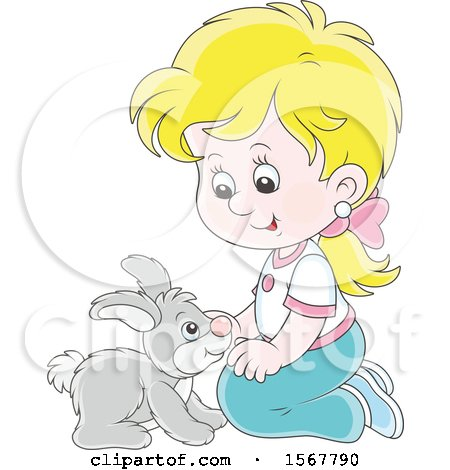 Clipart of a Blond White Girl Kneeling and Playing with Her Pet Bunny Rabbit - Royalty Free Vector Illustration by Alex Bannykh
