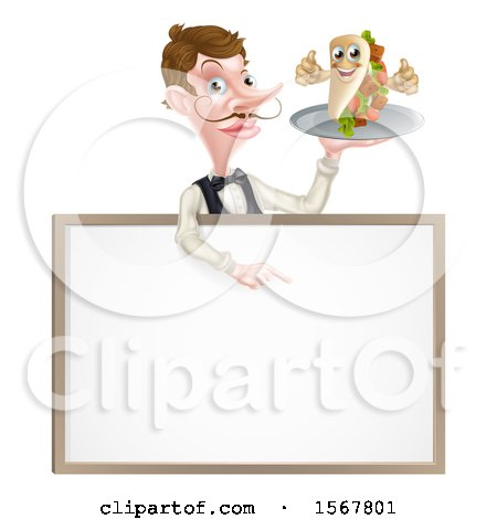 Clipart of a Male Waiter Holding a Kebab Sandwich Character on a Tray, Pointing down over a Blank Sign - Royalty Free Vector Illustration by AtStockIllustration