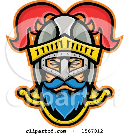 Clipart of a Retro Knight Wearing a Plumed Helmet - Royalty Free Vector Illustration by patrimonio
