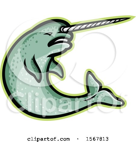 Clipart of a Tough Narwhal Animal Mascot - Royalty Free Vector Illustration by patrimonio