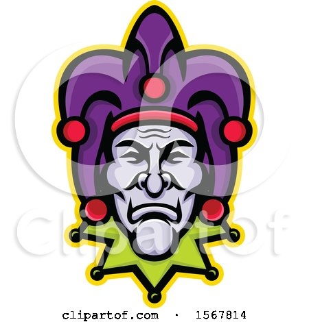 Clipart of a Retro Court Jester Face - Royalty Free Vector Illustration by patrimonio
