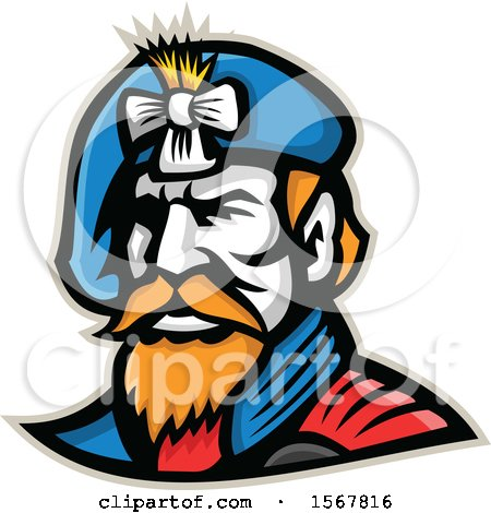 Clipart of a Retro Jacobite Highlander Mascot Wearing a Beret - Royalty Free Vector Illustration by patrimonio
