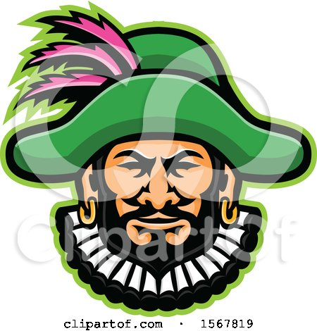 Clipart of a Retro Minstrel Mascot Head - Royalty Free Vector Illustration by patrimonio