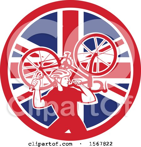 Clipart of a Retro Male Cyclist Carrying a Bicycle on His Back in a Union Jack Flag Circle - Royalty Free Vector Illustration by patrimonio