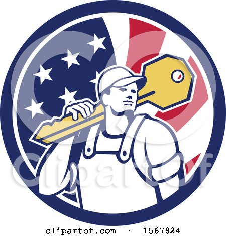 Clipart of a Cartoon Male Locksmith Carrying a Giant Key over His Shoulder in an American Flag Circle - Royalty Free Vector Illustration by patrimonio