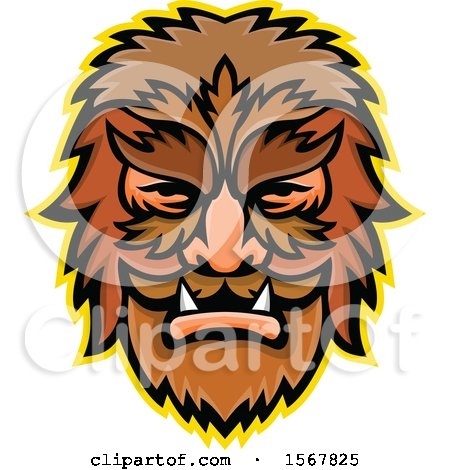 Clipart of a Retro Circus Freak Wolfman Head Mascot - Royalty Free Vector Illustration by patrimonio
