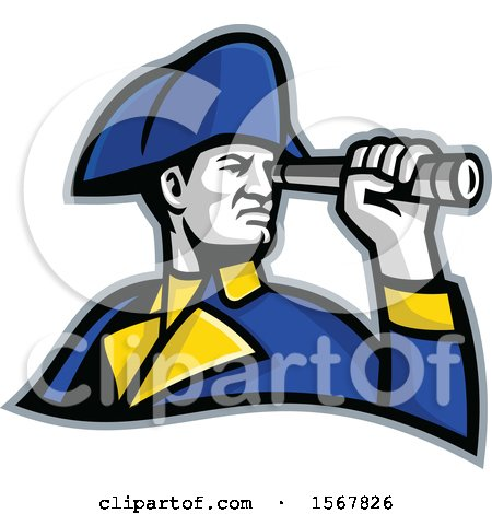 Clipart of a Retro British Admiral Looking Through a Telescope Spyglass - Royalty Free Vector Illustration by patrimonio
