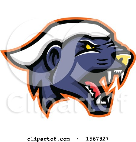 Clipart of a Tough Honey Badger Animal Mascot Head - Royalty Free Vector Illustration by patrimonio