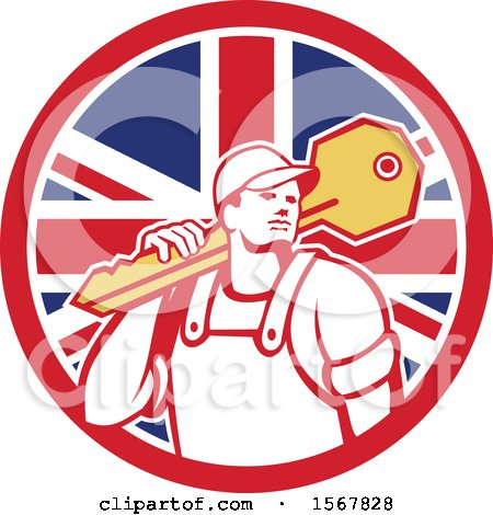 Clipart of a Cartoon Male Locksmith Carrying a Giant Key over His Shoulder in a Union Jack Flag Circle - Royalty Free Vector Illustration by patrimonio