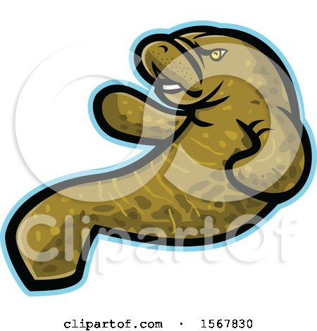Clipart of a Tough Manatee Animal Mascot - Royalty Free Vector Illustration by patrimonio