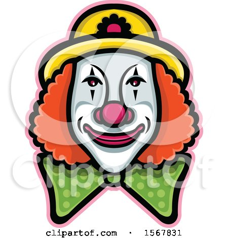 Clipart of a Circus Clown Face - Royalty Free Vector Illustration by patrimonio