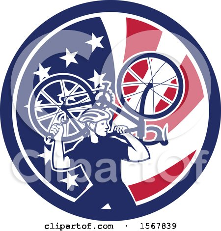Clipart of a Retro Male Cyclist Carrying a Bicycle on His Back in an American Flag Circle - Royalty Free Vector Illustration by patrimonio