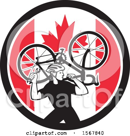 Clipart of a Retro Male Cyclist Carrying a Bicycle on His Back in a Canadian Flag Circle - Royalty Free Vector Illustration by patrimonio