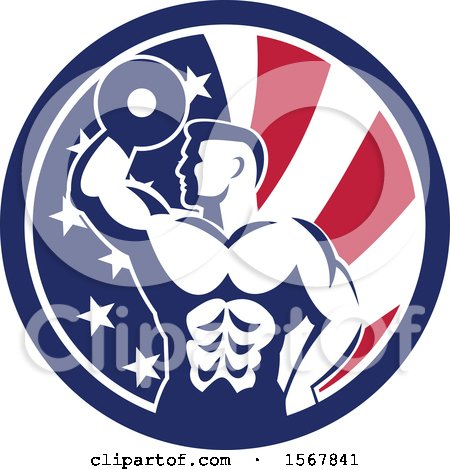 Clipart of a Retro Bodybuilder Doing Bicep Curls with a Dumbbell in an American Flag Circle - Royalty Free Vector Illustration by patrimonio