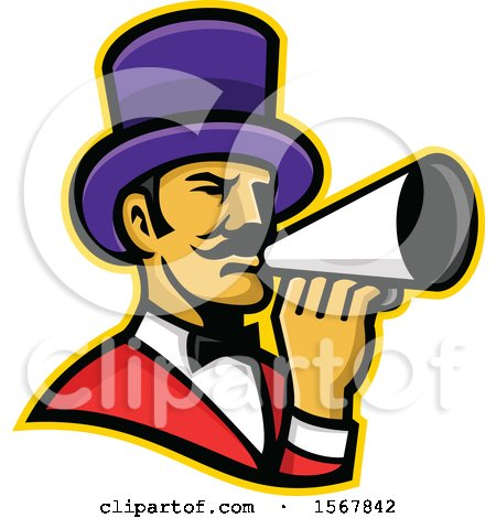 Retro Circus Ringmaster Using a Megaphone Posters, Art Prints