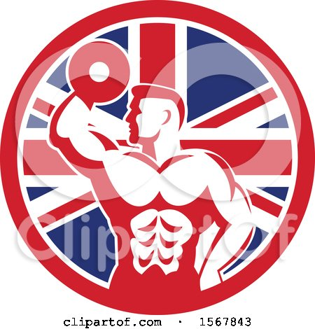 Clipart of a Retro Bodybuilder Doing Bicep Curls with a Dumbbell in a Union Jack Flag Circle - Royalty Free Vector Illustration by patrimonio