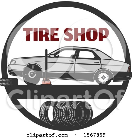 Clipart of a Car Repair Tire Shop Design - Royalty Free Vector Illustration by Vector Tradition SM