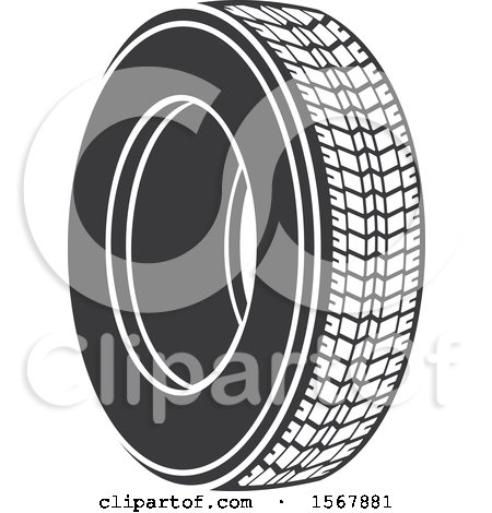 Clipart of a Car Tire Automotive Icon - Royalty Free Vector Illustration by Vector Tradition SM