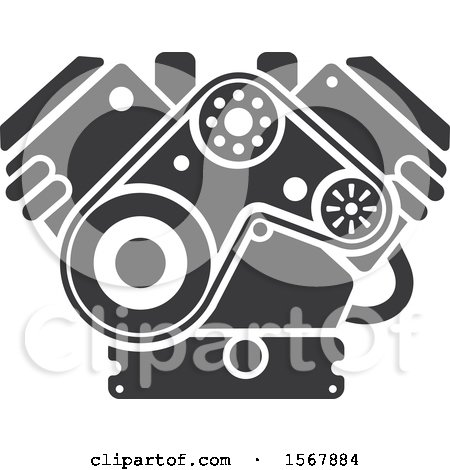 Clipart Of A Car Engine Automotive Icon Royalty Free Vector