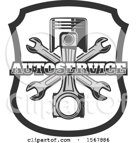 Clipart of a Piston and Wrench Shield Design - Royalty Free Vector ...