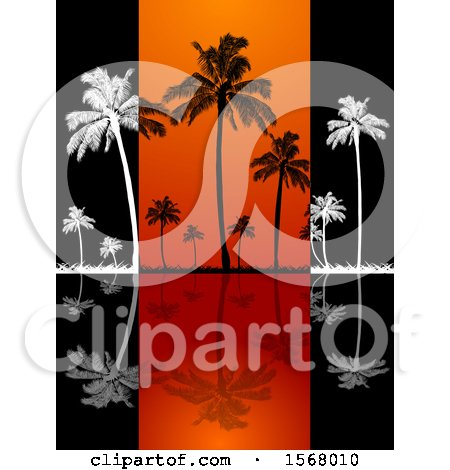 Clipart of White and Black Silhouetted Palm Trees and Reflections on Black and Orange Panels - Royalty Free Vector Illustration by elaineitalia