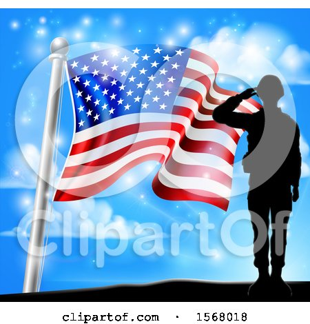 Clipart of a Silhouetted Full Length Male Military Veteran Saluting over an American Flag and Sky - Royalty Free Vector Illustration by AtStockIllustration