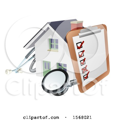 Clipart of a Home Inspection Check List on a Clip Board and Stethoscope Against a 3d White House - Royalty Free Vector Illustration by AtStockIllustration