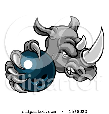 Clipart of a Tough Rhino Monster Mascot Holding out a Bowling Ball in One Clawed Paw - Royalty Free Vector Illustration by AtStockIllustration
