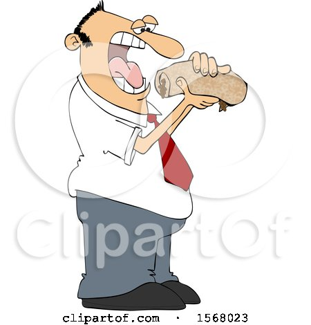 Clipart of a Man About to Shove a Messy Burrito in His Mouth - Royalty Free Vector Illustration by djart