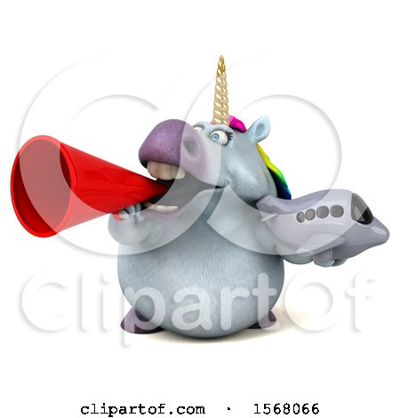 Clipart of a 3d Chubby Unicorn Holding a Plane, on a White Background - Royalty Free Illustration by Julos