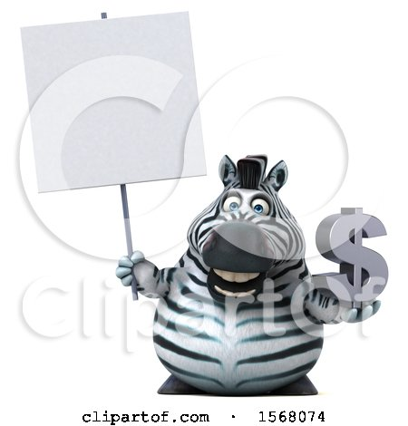 Clipart of a 3d Zebra Holding a Dollar Sign, on a White Background - Royalty Free Illustration by Julos