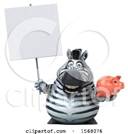 Clipart of a 3d Zebra Holding a Piggy Bank, on a White Background - Royalty Free Illustration by Julos