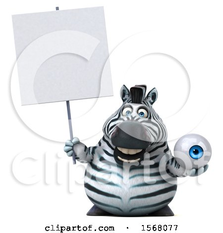 Clipart of a 3d Zebra Holding an Eyeball, on a White Background - Royalty Free Illustration by Julos