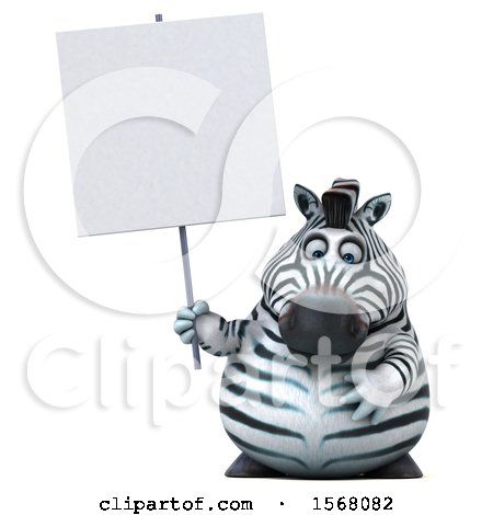 Clipart of a 3d Zebra Holding a Sign, on a White Background - Royalty Free Illustration by Julos