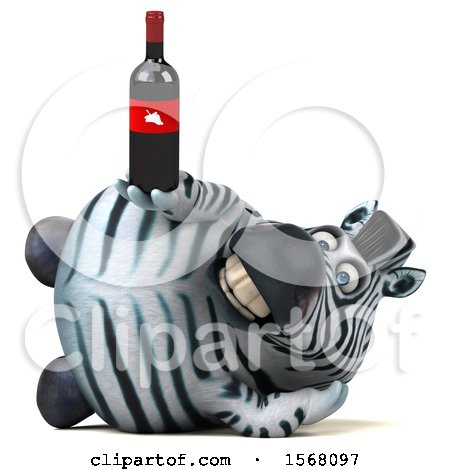 Clipart of a 3d Zebra Holding Wine, on a White Background - Royalty Free Illustration by Julos