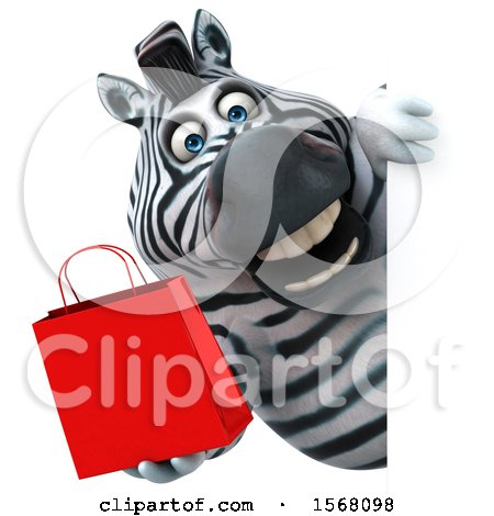 Clipart of a 3d Zebra Holding a Shopping Bag, on a White Background - Royalty Free Illustration by Julos